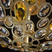 Preview: Deckenleuchte Crystal von MW-Light champagnue gold, Metall transparent yellow, crystal 3x40W E14