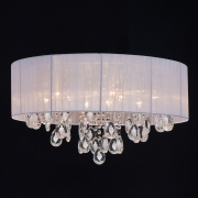 Preview: Deckenleuchte Elegance von MW-Light white, Metall white, fabric transparent, crystal 9x60W E14