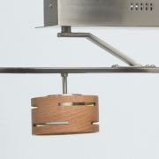 Preview: Deckenleuchte Hi-Tech von De Markt satin nickel, Metall wood frost, acrylic 6x5W LED 3000 LM 3000K LEDs installed