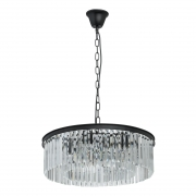 Preview: Hängeleuchte Loft von MW-Light matt black, Metall transparent, crystal 6x60W E14 2700K