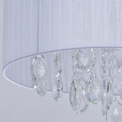 Deckenleuchte Elegance von MW-Light white, Metall white, fabric transparent, crystal 9x60W E14