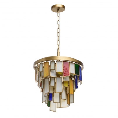 Deckenleuchte Megapolis von RegenBogen antique pearl gold, Metall multicolor, glass 6x40W E14