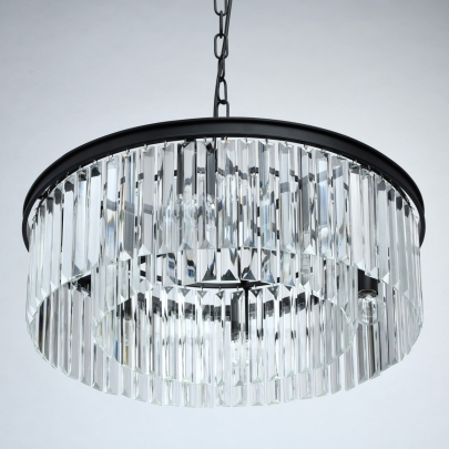 Hängeleuchte Loft von MW-Light matt black, Metall transparent, crystal 6x60W E14 2700K