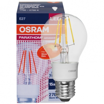 Osram LED-Lampe, PARATHOM ADVANCED CLASSIC A, GLOWdim, AGL-Form, klar, E27/240V/7W, 750Lm