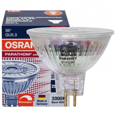 Osram LED-Reflektorlampe, GU5,3/12V/3,4W, MR16, Flood 36°, 230 lm, 600 cd, 3000K, Länge 46, Ø 51
