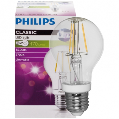 Philips Filament-LED-Lampe, CLASSIC, AGL-Form, klar, E27/240V dimmbar