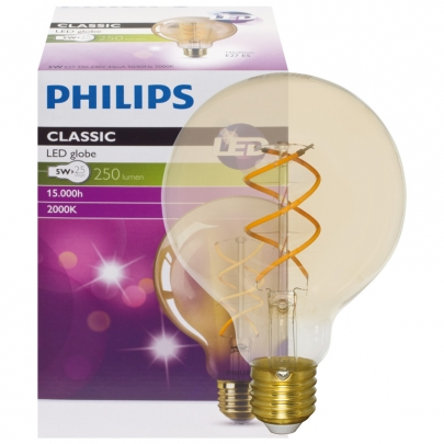 Philips LED-Filament-Lampe, VINTAGE, Globe-Form, gold, E27/5W, 250lm