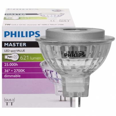 Philips LED-Reflektorlampe, MR16, MASTER LEDSPOT VALUE, GU5,3/12V