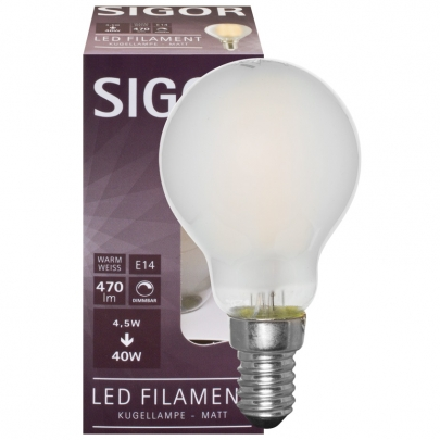 Sigor LED-Filament-Lampe, Tropfen-Form, matt, E14