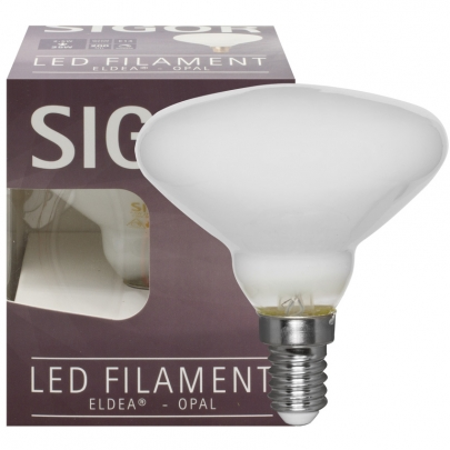 Sigor LED-Filament-Lampe, ELDEA-Form, opal, E14