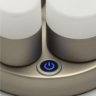 Mobile Preview: Tischleuchte Hi-Tech von De Markt satin nickel, Metall aluminum frosted, acrylic 12W LED 3000K