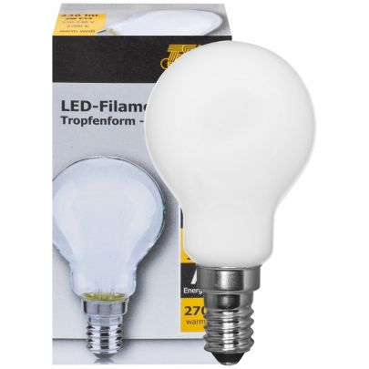 Ts Electronic LED-Filament-Lampe, Tropfen-Form, matt, E14