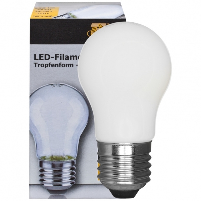 Ts Electronic LED-Filament-Lampe, Tropfen-Form, matt, E27