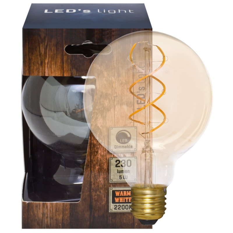 Leds Light Spiral-LED-Lampe, Globe-Form, E27/240V/5W, gold getönt, 230 lm, Länge 135, Ø 95
