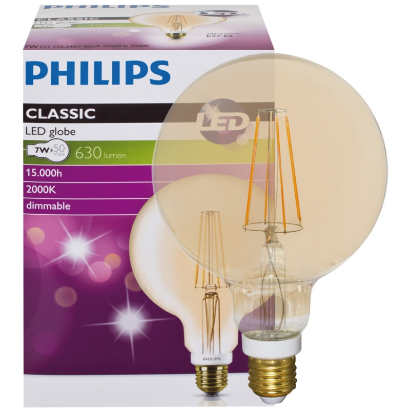 Philips LED-Filament-Lampe, CLASSIC, Globe-Form, gold, E27/8W, 630lm