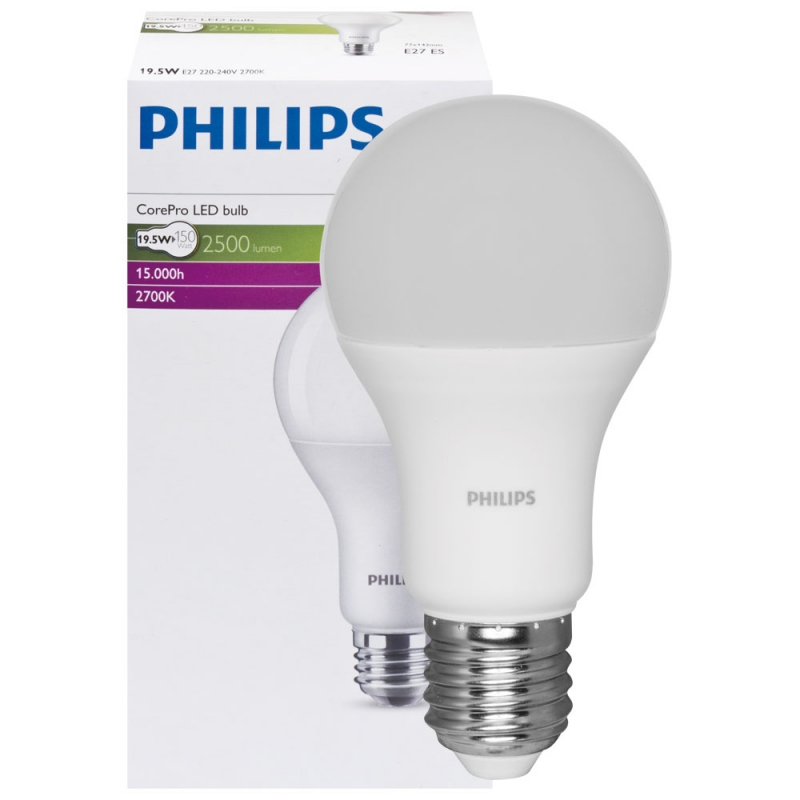 Philips LED-Lampe, COREPRO LEDBULB, AGL-Form, matt, E27/230V, 2700K ...