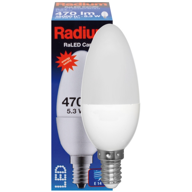 Radium LED-Filament-Lampe, RaLED CANDLE, Kerzen-Form, matt, E14/5,3W (40W)