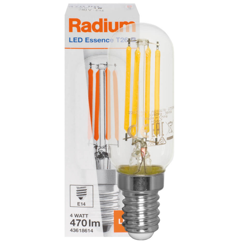 Radium LED-Filament-Lampe, LED ESSENCE T26, Röhren-Form, klar, E14, 2700K