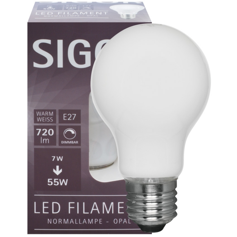 Sigor LED-Filament-Lampe, AGL-Form, opal, E27