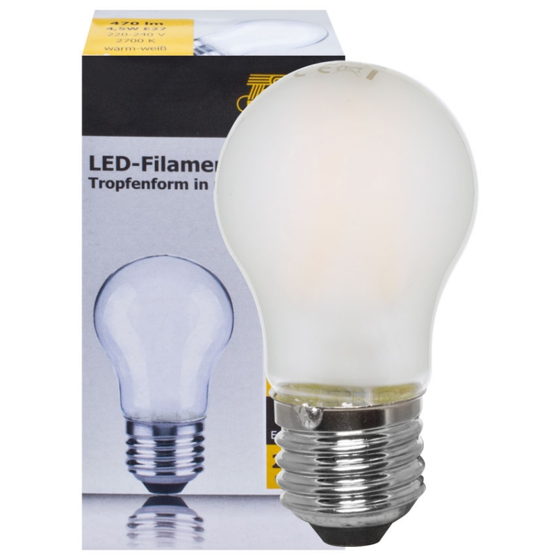Ts Electronic LED-Filament-Lampe, Tropfen-Form, matt, E27/4,5W, 470lm