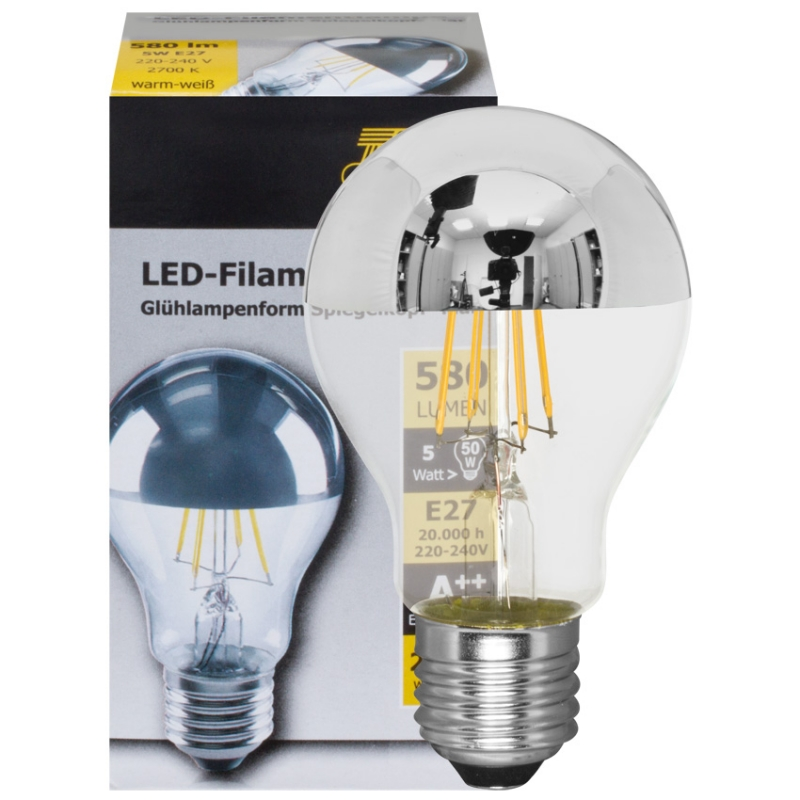 Ts Electronic LED-Filament-Lampe, AGL-Form, Spiegelkopf silber, E27