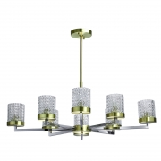 Deckenleuchte Megapolis von RegenBogen chrome brass, Metall transparent, glass 8x60W E27