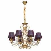 Hängeleuchte Elegance von Chiaro antique gold foil, Metall fabric, purple transparent, crystal 8x40W E14 2700K