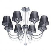 Hängeleuchte Elegance von MW-Light Chromfarben, Metall graphite color, fabric transparent, crystal 8x40W E14 2700K