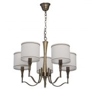 Hängeleuchte Elegance von MW-Light brass color, Metall fabric cream gold, color lampshade 5x60W E14 2700 К