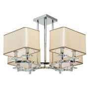 Hängeleuchte Elegance von MW-Light chrome, Metall beige, fabric transparent, crystal 8x40W E14 2700K