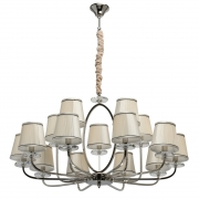 Hängeleuchte Elegance von MW-Light nickel, Metall transpant, crystal pink, fabric 15x40W E14 2700K