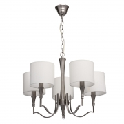 Hängeleuchte Elegance von MW-Light nickel color, Metall fabric cream, color lampshade 5x60W E14 2700 К