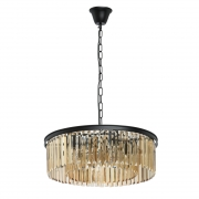 Hängeleuchte Loft von MW-Light matt black, Metall golden teak, crystal 6x60W E14 2700K