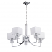 Hängeleuchte Megapolis von MW-LIGHT chrome color metall weiss fabric transparent acrylic 5*40W Е14 2700K