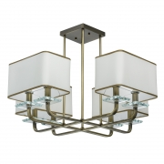 Hängeleuchte Megapolis von MW-Light antique brass, Metall white, fabric transparent, crystal 8x40W E14 2700K IP20