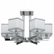 Hängeleuchte Megapolis von MW-Light chrome, Metall white, fabric transparent, crystal 6x40W E14 2700K IP20