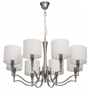 Kronleuchte Elegance von MW-Light nickel color, Metall fabric cream, color lampshade 8x60W E14 2700 К