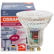 Osram LED-Reflektorlampe, GU10/240V/4,6W, PAR16, Flood 36°, 350Lm, 750 cd, 2700K, L 55, Ø 51 dimmbar