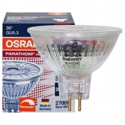 Osram LED-Reflektorlampe, pe,GU5,3/12V/5W, MR16, Flood 36°, 350Lm, 950 cd, 2700K, L 46, Ø 51 dimmbar