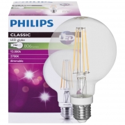 Philips LED-Filament-Lampe, CLASSIC, Globe-Form, klar, E27/8W, 806lm