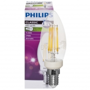 Philips LED-Filament-Lampe, CLASSIC, Kerzen-Form, klar, E14