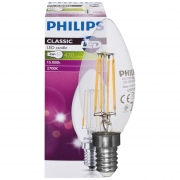 Philips LED-Filament-Lampe, Kerzen-Form, klar, E14