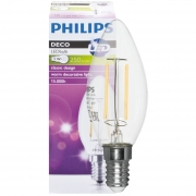 Philips LED-Filament-Lampe, Kerzen-Form, klar, E14, 2700K