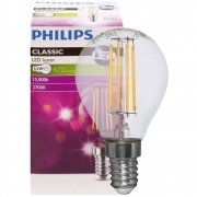 Philips LED-Filament-Lampe, Tropfen-Form, klar, E14