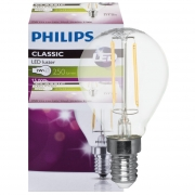 Philips LED-Filament-Lampe, Tropfen-Form, klar, E14, 2700K