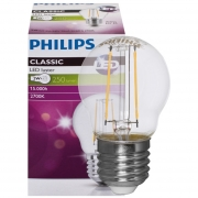 Philips LED-Filament-Lampe, Tropfen-Form, klar, E27, 2700K