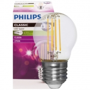 Philips LED-Filament-Lampe, Tropfen-Form, klar, E27