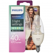 Philips LED-Lampe, SCENE SWITCH, DimTone, Kerzen-Form, klar, E14/240V/5,5W (40W), 470lm