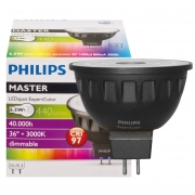 Philips LED-Reflektorlampe, MASTER LEDSpot, GU5,3/12V/6,5W, Flood 36°, 440 lm, 1400 cd, 3000K, Länge 46, Ø 51