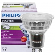 Philips LED-Reflektorlampe, MASTER LEDSpot, Ra 97, GU10/230V/5,5W, Flood 36°, 355 lm, 800 cd, 2700K, L 57, Ø 50 dimmbar